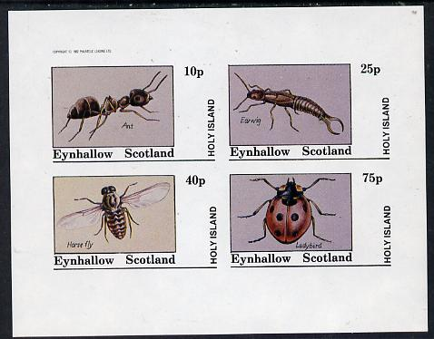 Eynhallow 1982 Insects (Ant, Earwig, Horsefly & Ladybird) imperf  set of 4 values (10p to 75p) unmounted mint, stamps on insects