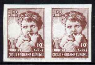 Turkey 1945 Postal Tax 10k horizontal imperf pair with red (star) omitted, unmounted mint but minor wrinkles