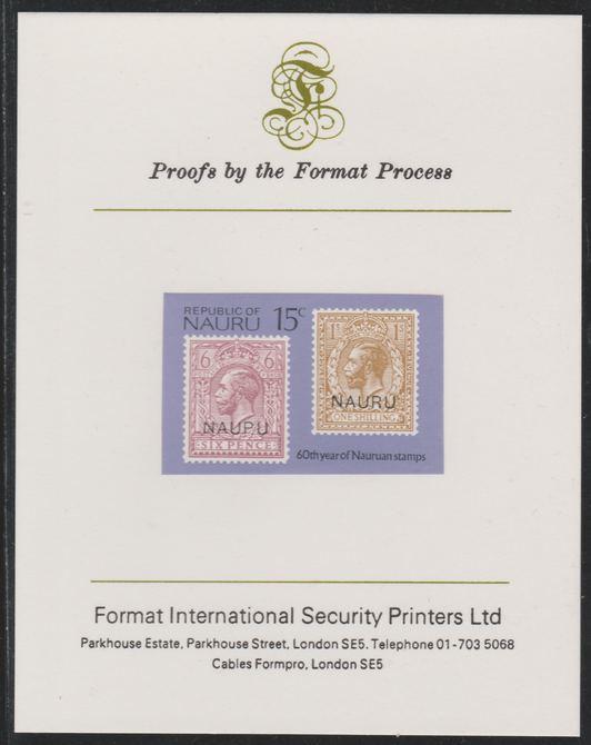 Nauru 1976 Stamp Anniversaries - 15c GB 6d & 1s stamps overprinted - imperf mounted on Format International Proof Card, as SG148