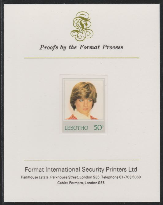 Lesotho 1982 Princess Diana's 21st Birthday 50c imperf mounted on Format International Proof Card, as SG515