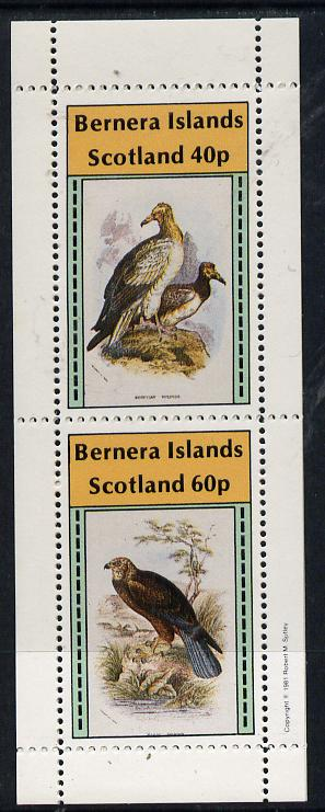 Bernera 1981 Birds of Prey perf  set of 2 values (40p & 60p) unmounted mint, stamps on birds, stamps on birds of prey, stamps on vulture