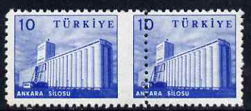 Turkey 1959 Grain Silo horiz pair with perfs between misplaced by 5mm, lightly mounted mint