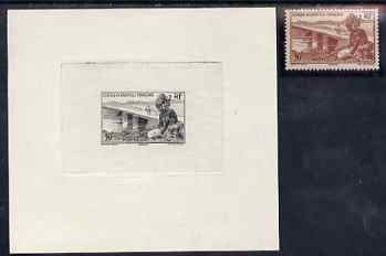 French West Africa 1947 Die Proof of 30c Girl & Bridge in black on sunken paper, plus issued stamp unmounted mint, SG 35