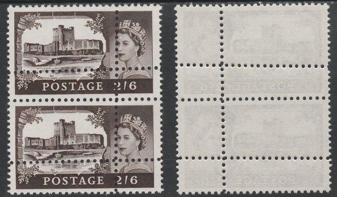 Great Britain 1963 Castles (Multiple Crown wmk) 2s6d vertical pair with perforations doubled (stamps are quartered) an attractive and interesting modern forgery, unmounted mint