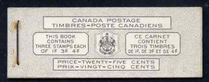 Booklet - Canada 1951 KG6 25c Bilingual booklet complete very fine, SG SB48a