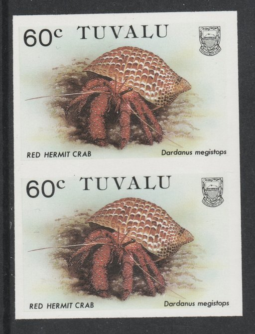 Tuvalu 1986 Crabs 60c (Red Hermit Crab) imperf pair unmounted mint, as SG 375