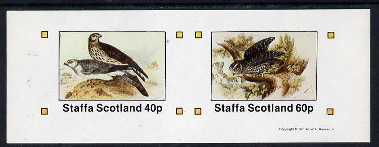 Staffa 1981 Birds of Prey #05 imperf  set of 2 values (40p & 60p) unmounted mint