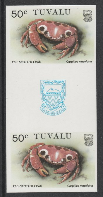 Tuvalu 1986 Crabs 50c (Red Spotted Crab) imperf gutter pair unmounted mint from uncut proof sheet, as SG 374. Note: The design withing the gutter varies across the sheet, therefore, the one you receive  may differ from that shown in the illustration.
