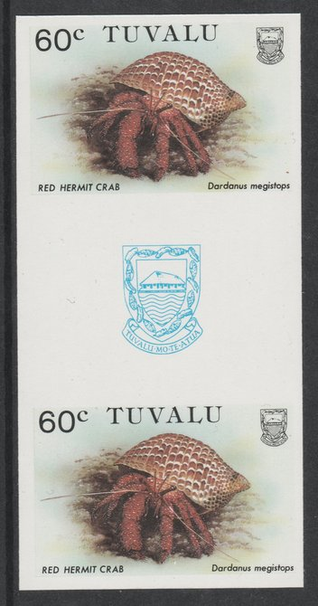 Tuvalu 1986 Crabs 60c (Red Hermit Crab) imperf gutter pair unmounted mint from uncut proof sheet, as SG 375. Note: The design withing the gutter varies across the sheet, therefore, the one you receive  may differ from that shown in the illustration.