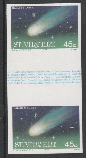 St Vincent 1986 Halley's Comet 45c (Comet) imperf gutter pair unmounted mint from uncut proof sheet, as SG 973. Note: The design withing the gutter varies across the sheet, therefore, the one you receive  may differ from that shown in the illustration.