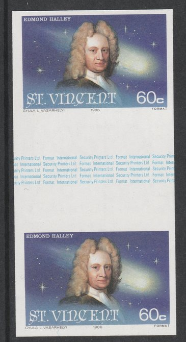 St Vincent 1986 Halley's Comet 60c (Edmond Halley) imperf gutter pair unmounted mint from uncut proof sheet, as SG 974. Note: The design withing the gutter varies across the sheet, therefore, the one you receive  may differ from that shown in the illustration.