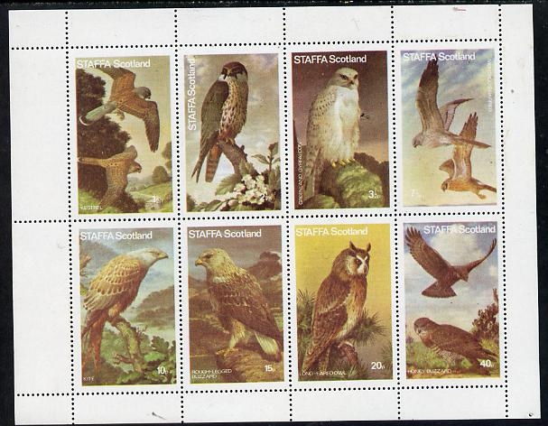 Staffa 1977 Birds of Prey #01 perf  set of 8 values unmounted mint (1.5p to 40p)