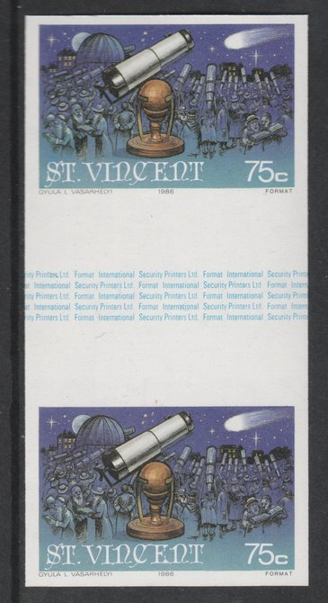 St Vincent 1986 Halley's Comet 75c (Newton's Telescope) imperf gutter pair unmounted mint from uncut proof sheet, as SG 975. Note: The design withing the gutter varies across the sheet, therefore, the one you receive  may differ from that shown in the illustration.