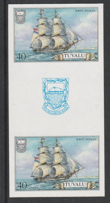 Tuvalu 1986 Ships #3 Brig John Wesley 40c imperf gutter pair unmounted mint from uncut proof sheet, as SG 378. Note: The design withing the gutter varies across the sheet, therefore, the one you receive  may differ from that shown in the illustration., stamps on ships, stamps on peace