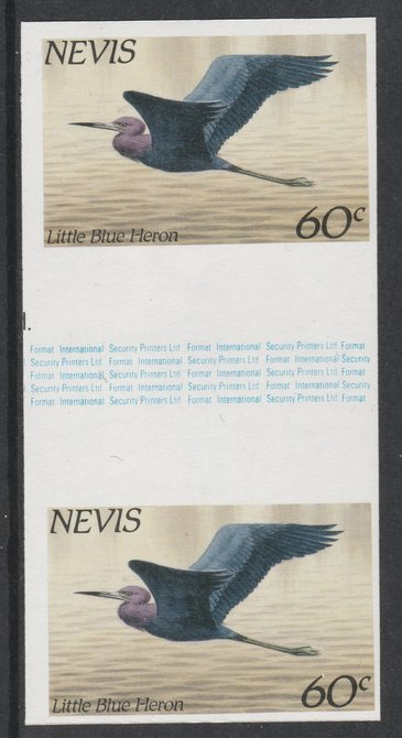 Nevis 1985 Hawks & Herons 60c (Little Blue Heron) imperf gutter pair unmounted mint from uncut proof sheet, as SG 267. Note: The design withing the gutter varies across the sheet, therefore, the one you receive  may differ from that shown in the illustration., stamps on birds, stamps on birds of prey