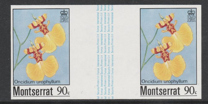 Montserrat 1985 Orchids 90c (Oncidium urophyllum) imperf gutter pair unmounted mint from uncut proof sheet, as SG 631. Note: The design withing the gutter varies across the sheet, therefore, the one you receive  may differ from that shown in the illustration.
