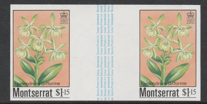 Montserrat 1985 Orchids $1.15 (Eppidendrum difforme) imperf gutter pair unmounted mint from uncut proof sheet, as SG 632. Note: The design withing the gutter varies across the sheet, therefore, the one you receive  may differ from that shown in the illustration., stamps on flowers, stamps on orchids