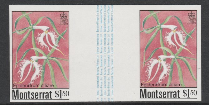Montserrat 1985 Orchids $1.50 (Eppidendrum ciliare) imperf gutter pair unmounted mint from uncut proof sheet, as SG 633. Note: The design withing the gutter varies across the sheet, therefore, the one you receive  may differ from that shown in the illustration.