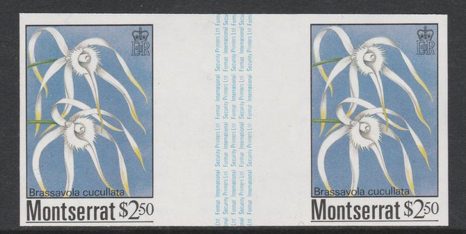 Montserrat 1985 Orchids $2.50 (Brassavola cucullata) imperf gutter pair unmounted mint from uncut proof sheet, as SG 634. Note: The design withing the gutter varies across the sheet, therefore, the one you receive  may differ from that shown in the illustration.