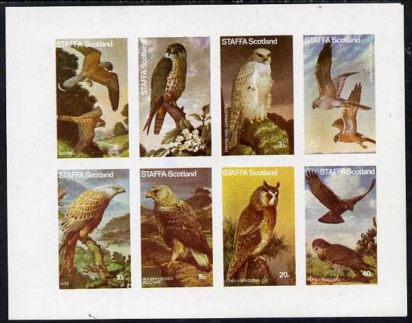 Staffa 1977 Birds of Prey #01 imperf  set of 8 values unmounted mint (1.5p to 40p)