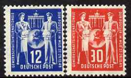 Germany - East 1949 International Postal Workers Union Congress perf set of 2 mounted mint SG E2-3