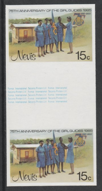 Nevis 1985 Girl Guides - Guides & Headquarters 15c imperf gutter pair (from uncut archive sheet) unmounted mint as SG 293. Note: The design within the gutter varies acros...