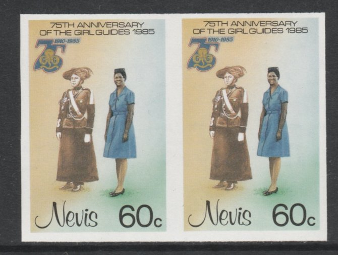 Nevis 1985 Girl Guides - Guides' Uniforms 60c imperf pair unmounted mint as SG 294