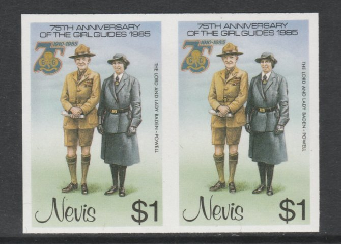 Nevis 1985 Girl Guides - Lord & Lady Baden-Powell $1 imperf pair unmounted mint as SG 295