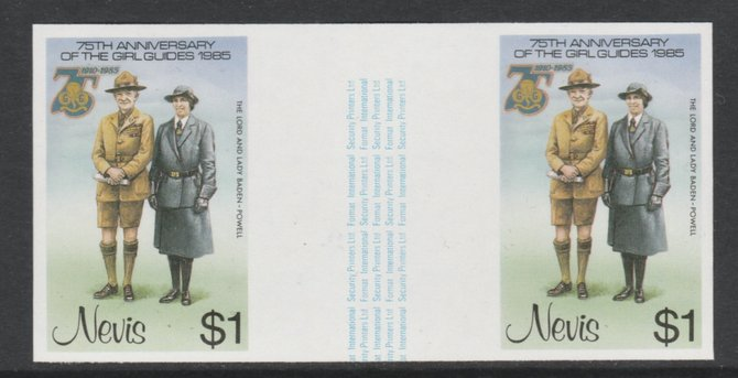 Nevis 1985 Girl Guides - Lord & Lady Baden-Powell $1 imperf gutter pair (from uncut archive sheet) unmounted mint as SG 295. Note: The design within the gutter varies across the sheet, therefore, the one you receive  may differ from that shown in the illustration.