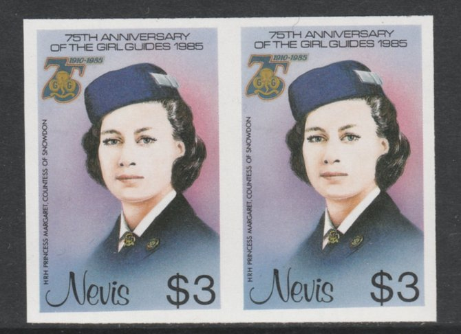 Nevis 1985 Girl Guides - Princess Margaret in Guide Uniform $3 imperf pair unmounted mint as SG 296
