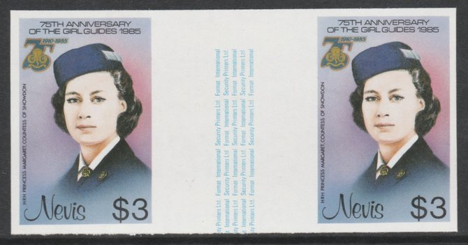 Nevis 1985 Girl Guides - Princess Margaret in Guide Uniform $3 imperf gutter pair (from uncut archive sheet) unmounted mint as SG 296. Note: The design within the gutter ...