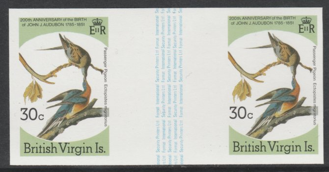 British Virgin Islands 1985 John Audubon Birds 30c Passenger Pigeon imperf gutter pair (from uncut archive sheet) (as SG 589) unmounted mint. Note: The design withing the gutter varies across the sheet, therefore, the one you receive  may differ from that shown in the illustration.