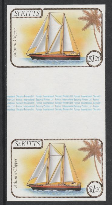 St Kitts 1985 Ships $1.20 (Atlantic Clipper Schooner) imperf gutter pair (from uncut archive sheet) (SG 174var) unmounted mint. Note: The design withing the gutter varies across the sheet, therefore, the one you receive  may differ from that shown in the illustration.