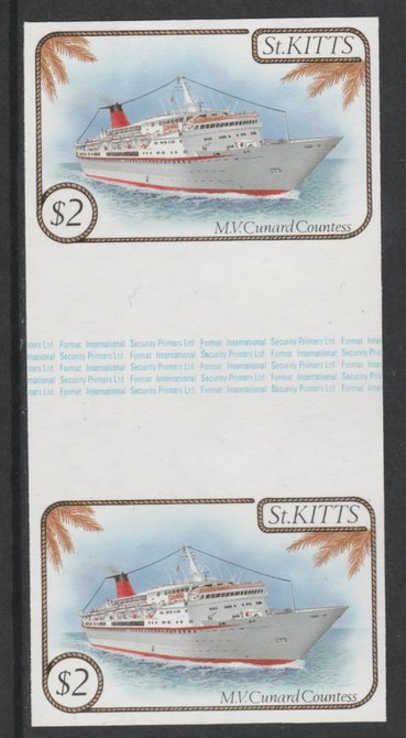 St Kitts 1985 Ships $2 (Cunard Liner) imperf gutter pair (from uncut archive sheet) (SG 176var) unmounted mint. Note: The design withing the gutter varies across the sheet, therefore, the one you receive  may differ from that shown in the illustration.