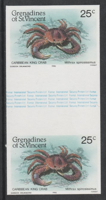 St Vincent - Grenadines 1985 Shell Fish 25c (King Crab) imperf gutter pair (from uncut archive sheet) unmounted mint, SG 360var. Note: The design withing the gutter varies across the sheet, therefore, the one you receive  may differ from that shown in the illustration.