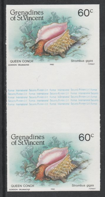 St Vincent - Grenadines 1985 Shell Fish 60c (Queen Conch) imperf gutter pair (from uncut archive sheet) unmounted mint, SG 361var. Note: The design withing the gutter varies across the sheet, therefore, the one you receive  may differ from that shown in the illustration.
