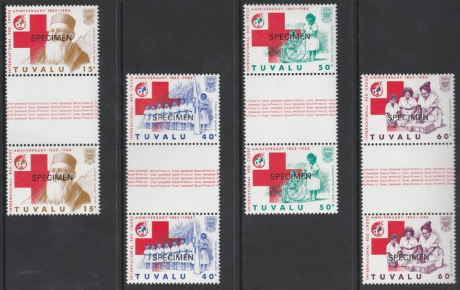 Tuvalu 1988 Red Cross set of 4 overprinted SPECIMEN in unmounted mint gutter pairs (as SG 518-21)