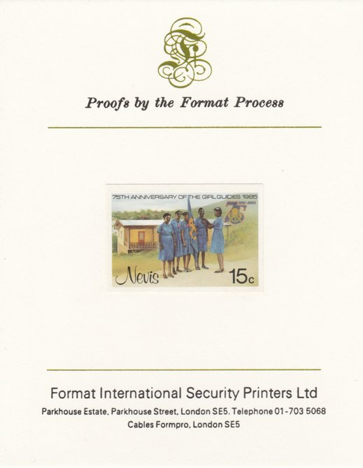 Nevis 1985 Girl Guides - Guides & Headquarters 15c (as SG 293) imperf proof mounted on Format International proof card