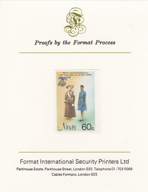 Nevis 1985 Girl Guides - Guides' Uniforms 60c as SG 294) imperf proof mounted on Format International proof card