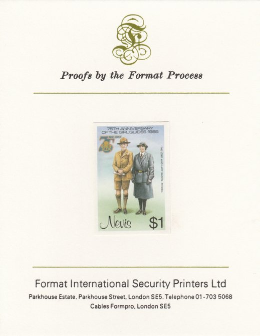 Nevis 1985 Girl Guides - Lord & Lady Baden-Powell $1 (as SG 295) imperf proof mounted on Format International proof card