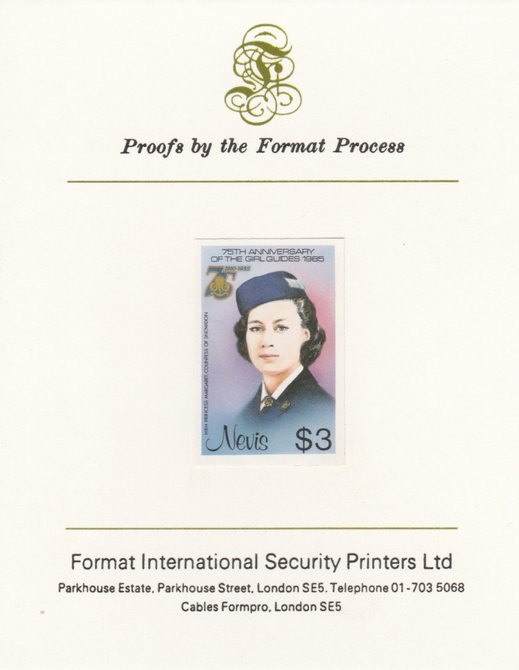 Nevis 1985 Girl Guides - Princess Margaret in Guide Uniform $3 (as SG 296) imperf proof mounted on Format International proof card