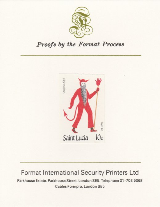 St Lucia 1985 Christmas - 10c Papa Jeb as SG 854, imperf proof mounted on Format International proof card