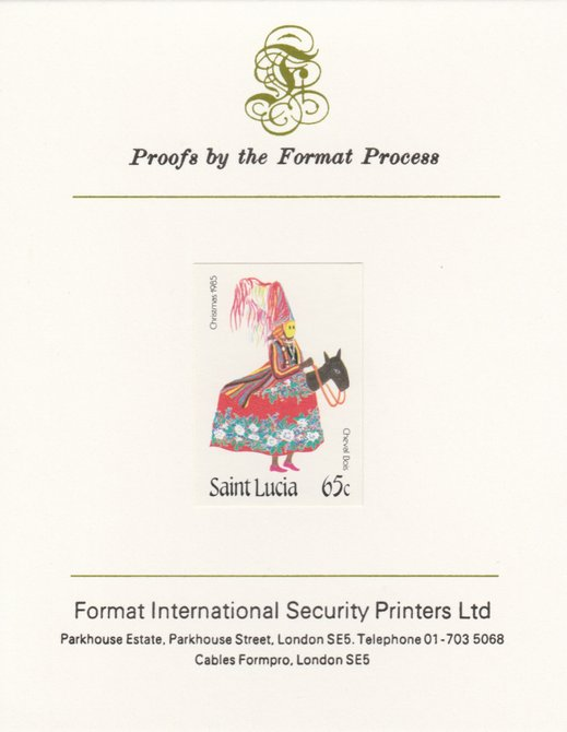 St Lucia 1985 Christmas - 65c Cheval Bois as SG 856, imperf proof mounted on Format International proof card