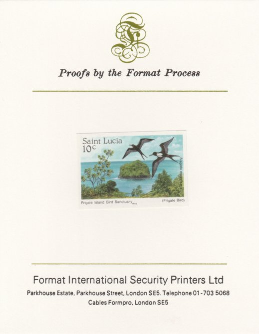 St Lucia 1985 Nature Reserves 10c Frigate Bird & Island as SG 820, imperf proof mounted on Format International proof card