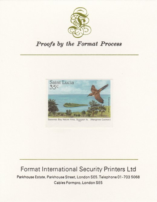 St Lucia 1985 Nature Reserves 35c Mangrove Cuckoo as SG 821, imperf proof mounted on Format International proof card