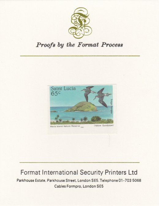 St Lucia 1985 Nature Reserves 65c Yellowlegs as SG 822, imperf proof mounted on Format International proof card
