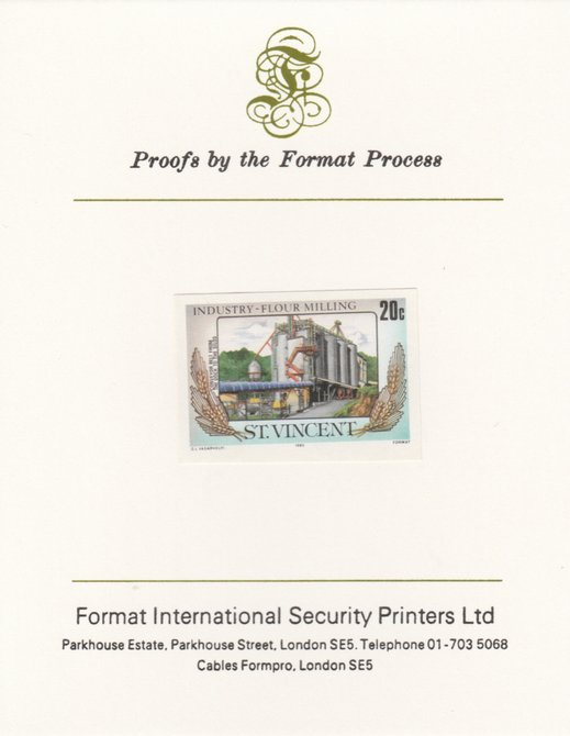 St Vincent 1985 Flour Milling 20c Silos & Conveyor Belt as SG 928, imperf proof mounted on Format International proof card