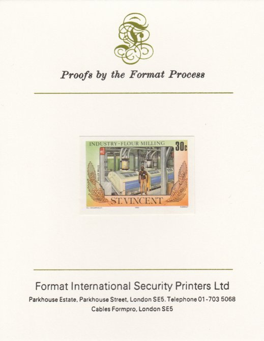 St Vincent 1985 Flour Milling 30c Roller Mills as SG 929, imperf proof mounted on Format International proof card , stamps on