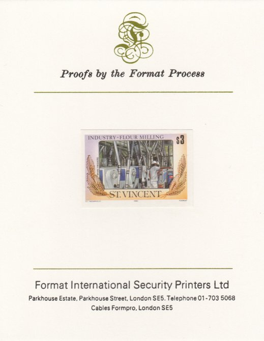 St Vincent 1985 Flour Milling $3 Bran Finishers as SG 931, imperf proof mounted on Format International proof card