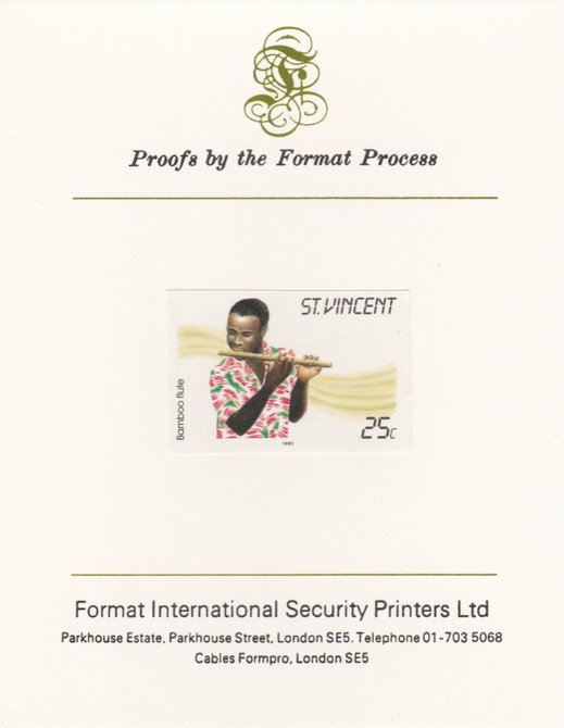 St Vincent 1985 Musical Instruments 25c Bamboo Flute as SG 905, imperf proof mounted on Format International proof card